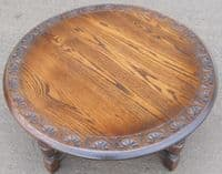 Large Round Carved Oak Coffee Table